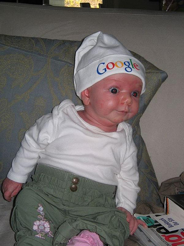 Maddie in her Google Hat