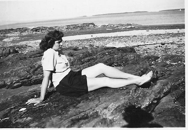 Mum on the beach, 1945