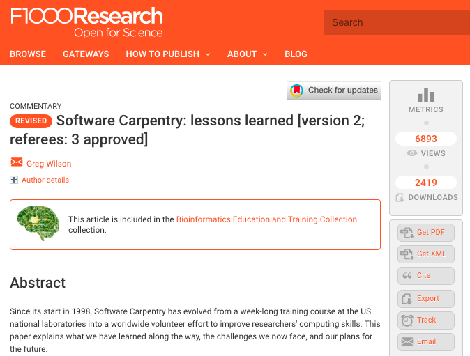 Screenshot of F1000 page for 'Software Carpenry - Lessons Learned' paper