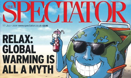 Magazine cover claiming global warming is a myth