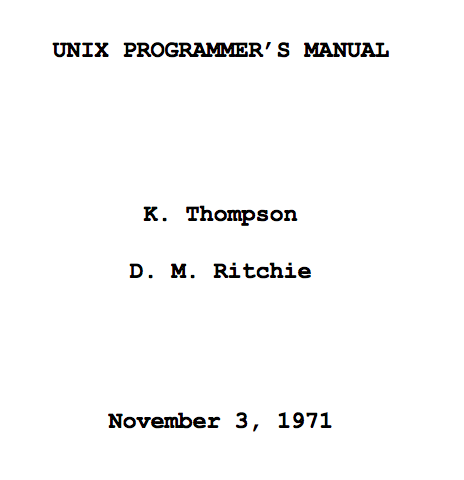 Unix Manual cover page (1971)